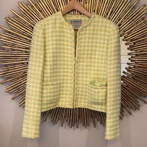 Carlisle Yellow Tweed Zip Up Jacket